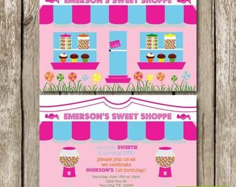 Sweet Shoppe Candy Birthday Invitation - Gumball Birthday Invite - Candy Shop Birthday Invite - Lollipop Birthday Invite - Pink Candy Invite