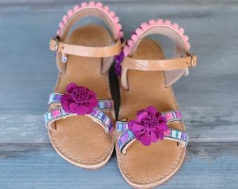 """Kids sandals """"Viola"""", Baby Kids Gladiator sandals, Leather Sandals, Slingback Strap Sandals, Boho sandals, Greek sandals"""