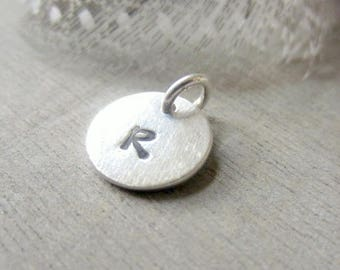 Silver Initial Charm, Artisan Fine Silver Letter, Custom Hand Stamped Circle Disc, Add A Dangle, Add On, PMC Charm
