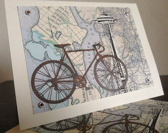 12-Pack Seattle Bike and Map - Gocco Screen-Printed Greeting Cards
