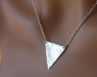 Sterling Silver Triangle Hammered Pendant Necklace Modern Women's Jewelry Gift