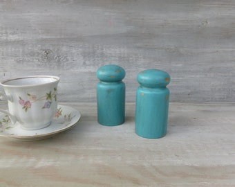 Pair of Wooden Salt and Pepper Shakers Painted Turquoise
