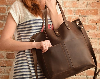 Brown leather bag, Leather Tote bag, Large leather tote, Big leather tote, Natural leather tote bag, Handmade tote, Brown leather tote
