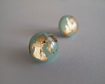 Mint Green Gold Round Stud Earrings - Hypoallergenic Titanium Posts