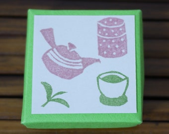Japanese Green Tea Set Rubber Stamp