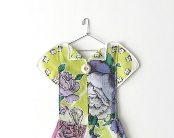 Green Vintage Hanky Dress Decor with Lavender Rose Motif
