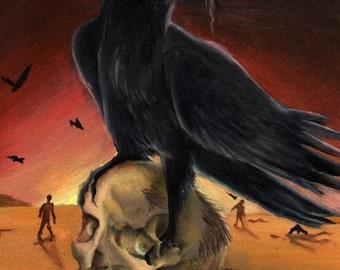 The Arrival - Original Zombie Oil Painting, Apocalypse, Zombie, Scavengers, Desert