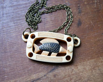 Fish Necklace - Vintage Lucite Fish Pendant with antiqued brass chain