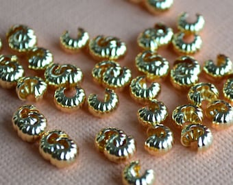 500pcs 4mm Crimp Cover Gold Plated Brass Corrugated Knot Covers Jewelry Findings