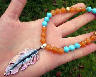 Angel Feather Prayer Beads / Mini Mala / Mini Rosary - guardian angel, archangel, Michael, Gabriel, Uriel, Raphael, Lucifer