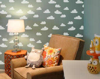 Cloud Wall Stencil Reusable