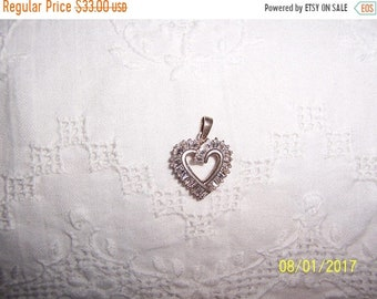 SUMMER SALE 20% OFF, Vintage Clear Cubic zirconias heart pendant. Silver plated.