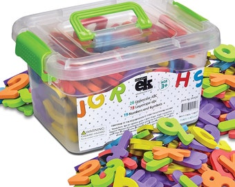 Magnetic Foam Letters and Numbers Premium Quality ABC, 123 Foam Alphabet Magnets | Preschool Learning, Spelling, Counting in Canister
