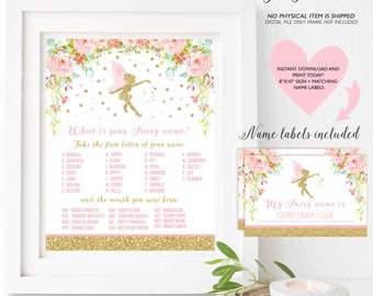What Is Your Fairy Name Game Fairy Party Game Fairy Party Whimsical Fairy Birthday Floral Fairy Party Game Instant File Fairy Game 4Q