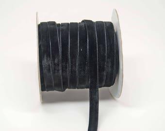 Velvet Woven Ribbon Trim -- 3/8 inches -- Midnight Black