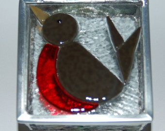 Robin Stained Glass Trinket Box