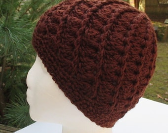 Crocheted Womans Hat - Spiral Patterned - Chocolate Brown Beanie, Cloche