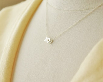 Silver XO Necklace- Hugs and Kisses Necklace/ Silver Necklace/ Dainty Necklace/ Layering Necklace/ Tiny Charm Necklace/ Minimal Necklace