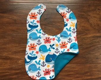 Reversible Bib, Sea Buddies, Triple Layer, Baby Bib, Baby Shower Gift, Drool Bib, Gender Neutral, Boutique Bib, Baby Branch Boutique
