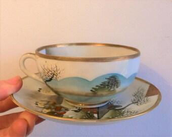 Vintage Japanese Tea Set Eggshell Gold Geisha Pagoda Trio Tea cup, saucer & plate