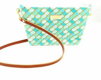 12 x 7 x 3 - Aqua Mermaid Bag - Crossbody Purse -leather strap -Ready to Ship