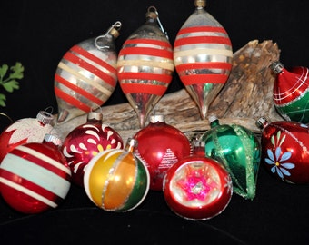 Box of 12 Ornaments, Stripes, Stenciled, indents, Pointed ornaments, Great Colors  We have a nice selection in our shop, #54