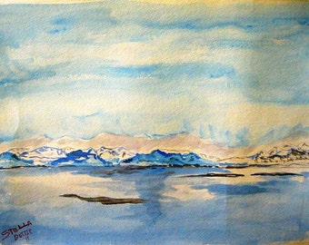 Snow ice water, watercolor print