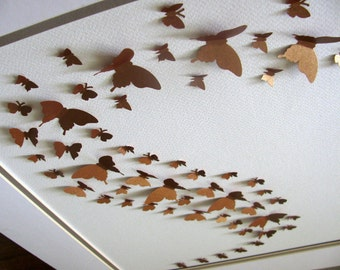 11X14 Shimmery Copper 3D Butterfly Art / Metallic / Butterfly Wall Art / Wall Decor / Paper Butterfly Art / Ready to Ship