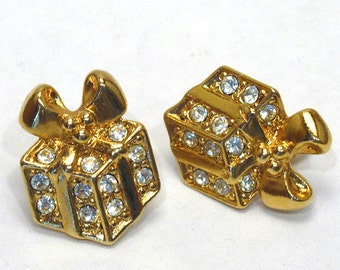Christmas Gifts Sparkling Packages Goldtone Earrings - AVON - Vintage 1992 (pierced)