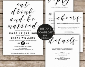 Rustic elegant Wedding Invitation suite, wedding invitation template, instant download template,  PDF editable text, black and white wedding