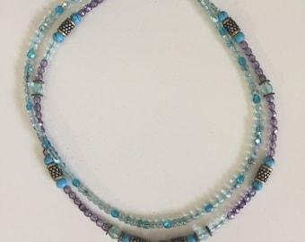 unique turquoise gem and purple crystal beads metal light blue pendant necklace