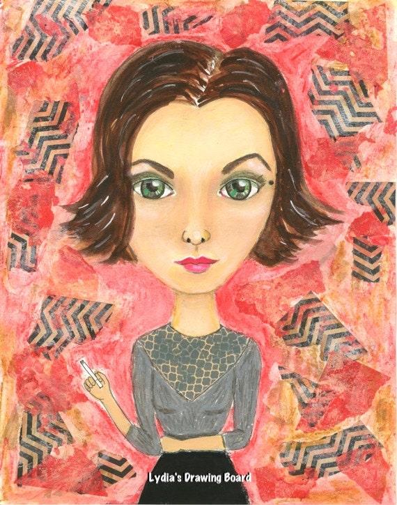 Audrey, Audrey Horne, Twin Peaks, Twin Peaks Print, Twin Peaks Art, Girl Art, Mixed Media, Mixed Media Art, Gothic Art, David Lynch, Fan Art