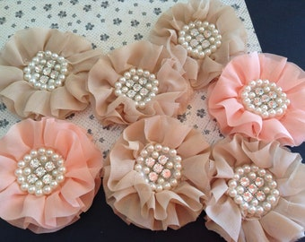 PACK OF 2 - Chiffon Flowers - Pearl and Rhinestone Centres - Headbands, Hats, Paper Crafts, Sewing, Gift Wrapping, Wedding - Peach or Latte