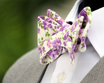 Mens Bow tie Purple floral Violet lavender mens bow Tie Men's tie Wedding gift for him 353