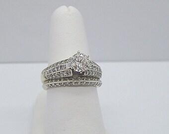14K White Gold Round Diamond Engagement Ring Wedding Band Set 3 Carats Deco Look