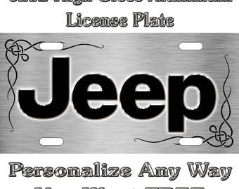 JEEP Brushed Chrome ANY COLOR Sign Custom Monogram License Plate Auto Car Tag Personalize Background Wallpaper Aluminum Novelty