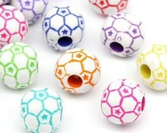 20 pattern football multicolored 12mm acrylic