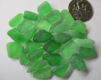 GENUINE SEA GLASS 27 Green Beads Real Surf Tumbled Natural Unaltered Greek Beach Found Undrilled Seaglass Jewelry Quality Bead  U 718