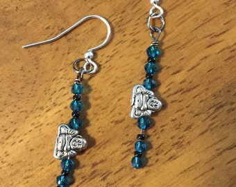 Buddha, Wrapped, Blue, Earrings