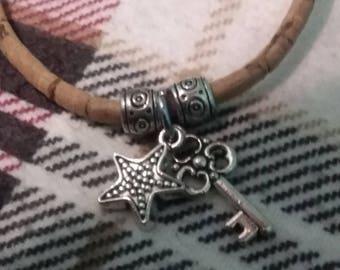 Star key bracelet charms cork silver color handmade 7.5 inch wrist to 3x plus size women
