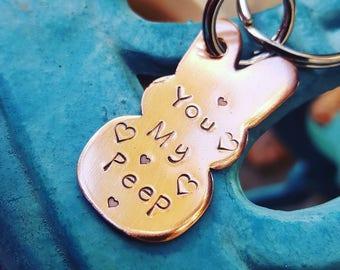 Sie meine Peep, du bist meine Peep, ich Liebe Hasen-Schlüsselanhänger, Hase Schlüsselanhänger, Bunny Hundemarke, Bunny Besitzer Geschenk