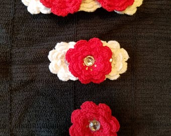 Crochet flower barrettes set of 3 Valentine's Day