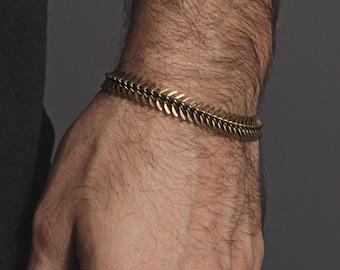 Herren Armband - Wirbelsäule geformt Messingarmband für Männer und Frauen - Herrenschmuck - einstellbare Messing Armband für Männer - Wirbelsäule Kettenarmband