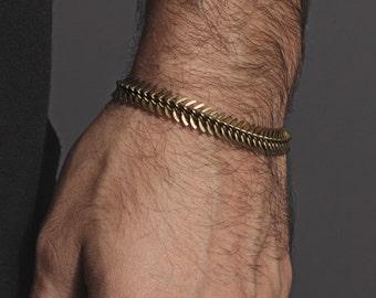 Men's Bracelet - Spine shaped brass bracelet for men and women - Mens Jewelry - Adjustable Brass bracelet for Men - Spine chain bracelet