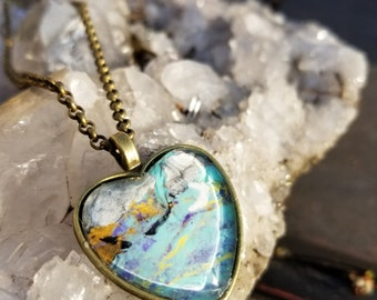turquoise and maize heart pendant