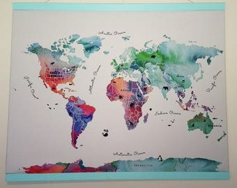 World map watercolor-Illustrated and educational nursery gift-Fabric art-Can be personalized-UNFRAMED--STUNNING!