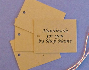 50 kraft tags w ties personalized tags clothing price tags hang tags gift tags merchandise tags handmade for you tags etsy shop supplies