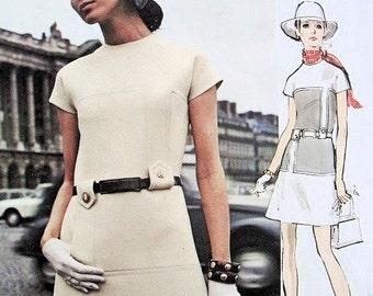 70s MOLYNEUX Mod Mini Dress Pattern Vogue Paris Original 2339 Unique Seam Design Bust 38 Vintage Sewing Pattern UNCUT + Vogue Label