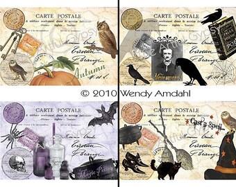 Halloween, Digital Graphics, Illustration, Halloween Collage, Vintage Themed, Postcards, 4 per sheet,  Instant Digital Download