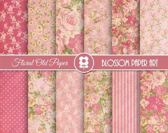 Pink Floral Digital Paper, Shabby Chic Digital Paper Pack, Vintage Scrapbook Paper, Roses Scrapbook Paper Pack  - INSTANT DOWNLOAD  - 1970